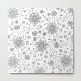 Beautiful Flowers in Faded Gray Black and White Vintage Floral Design Metal Print