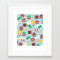 super mario Framed Art Prints featuring Super Mario by Clef