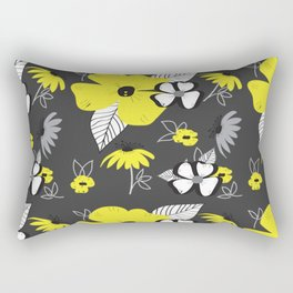 Yellow and Black Drawn Flowers on Gray Rectangular Pillow