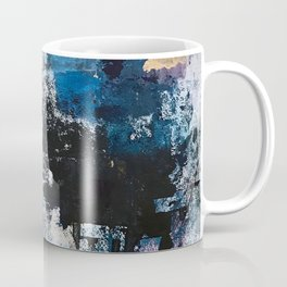 Breathe: colorful abstract in black, blue, purple, gold and white Coffee Mug