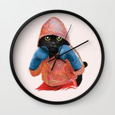 Boxing Cat 2  Wall Clock