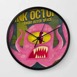 Pink octopus from outer space Wall Clock