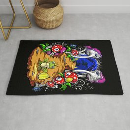 Psychedelic Magic Mushrooms Festival Trip Rug
