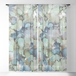 Alcohol Ink Sea Glass Sheer Curtain