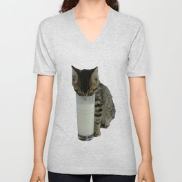 Cute Wild Kitten With A Glass Full of Optimism Unisex V-Neck