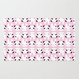 Super Cute Kawaii Bunny and Panda (Pink) Rug