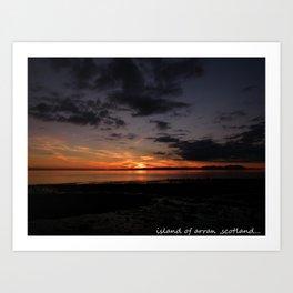 sunset over arran,scotland. Art Print