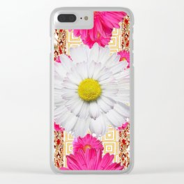 White Shasta Daisy Fuchsia  Pink Purple Patterns Clear iPhone Case