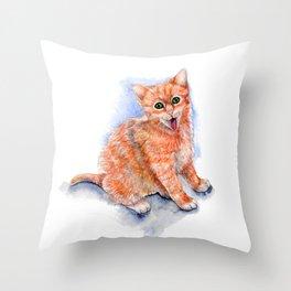 Happy Orange Kitten Throw Pillow