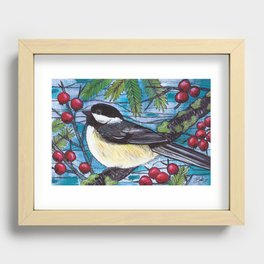 Yuletide Chickadee Recessed Framed Print