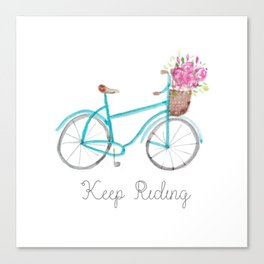 Keep Riding Bike, Watercolor Bike Canvas Print
