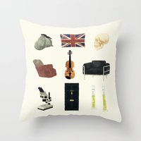 221b Throw Pillows featuring 221B Baker Street by CHOCOMINT GEEK