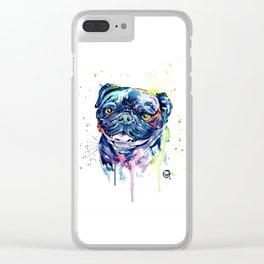 Pug Watercolor Pet Portrait Painting Clear iPhone Case
