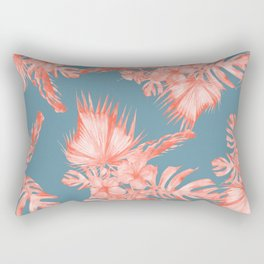 Dreaming of Hawaii Pale Coral on Teal Blue Rectangular Pillow