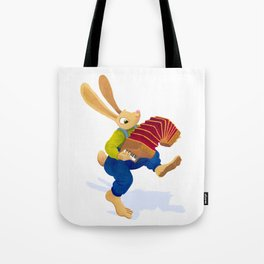 Rabbit with an accordion Tote Bag