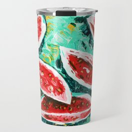watermelon acrylic art Travel Mug