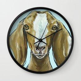 Goat Art, Cute Farm Animal Painting Wall Clock