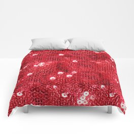 Faux Red Sequin Background Comforters