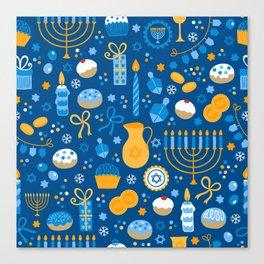 Hanukkah Happy Holidays Pattern Canvas Print