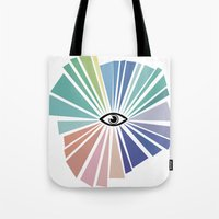 all seeing eye Tote Bags featuring All seeing eye  by Nobra