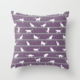 Cats Pattern (purple) Throw Pillow