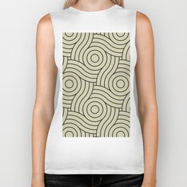Circle Swirl Pattern Muted Green Inspired By Natural Olive Green - Martinique Dawn - Asian Silk Biker Tank