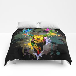 Deer PopArt Dripping Paint Comforters