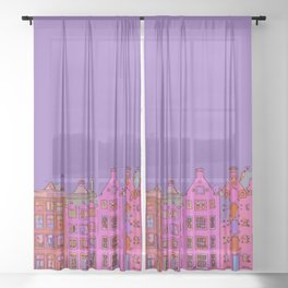 Canal houses Amsterdam the Netherlands Sheer Curtain