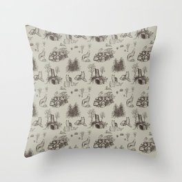 Eurasian Wolf Toile Pattern (Beige and Brown) Throw Pillow
