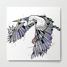 Heron Geometric Bird Metal Print