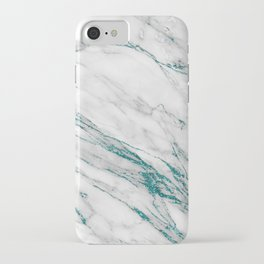 Gray Marble Aqua Teal Metallic Glitter Foil Style iPhone Case