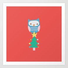 XMAS TREE OWL Art Print