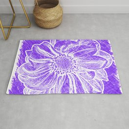 White Flower On Purple Crayon Rug