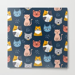 cute seamless cats pattern Metal Print