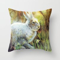 hare Throw Pillows featuring Hare by Natalie Berman