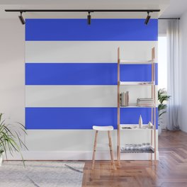 Even Horizontal Stripes, Blue and White, XL Wall Mural