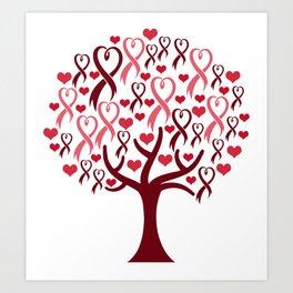 Blossoming Awareness Ribbon Heart Tree Art Print