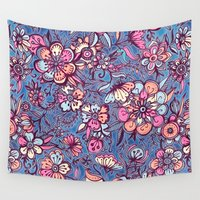 indigo Wall Tapestries featuring Sweet Spring Floral - soft indigo & candy pastels by micklyn