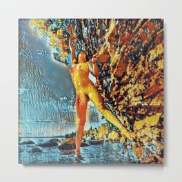 3585s-HS Lake Superior Nude Woman on Rocky Shore Impressionistic Rendering Metal Print