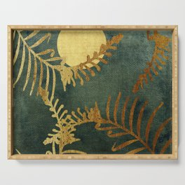 Golden Cycas leaves on dark green canvas Serving Tray