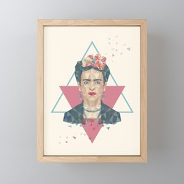 Pastel Frida - Geometric Portrait with Triangles Framed Mini Art Print