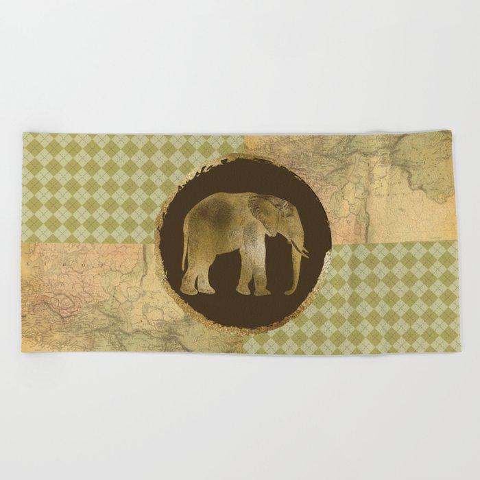 African Elephant on Map and Argyle Beach Towel