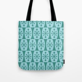 Mid Century Modern Atomic Fusion Pattern 335 Green and Blue Tote Bag