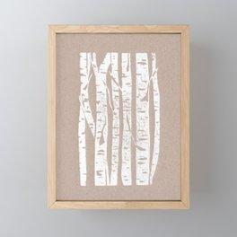 Woodcut Birches Framed Mini Art Print