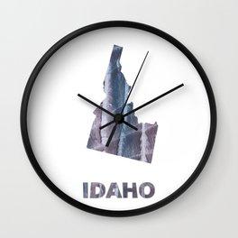 Idaho map outline Slate gray blurred wash drawing design Wall Clock