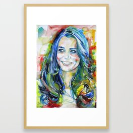 CATHERINE,Duchess of CAMBRIDGE - watercolor portrait Framed Art Print