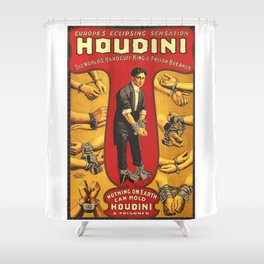 Houdini, vintage theater poster, color Shower Curtain