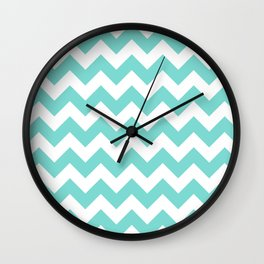 Chevrons White & Aqua Wall Clock