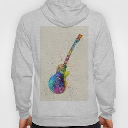 Electric Guitar Abstract Watercolor Hoody