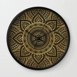 Gold Mandala Black ink Wall Clock